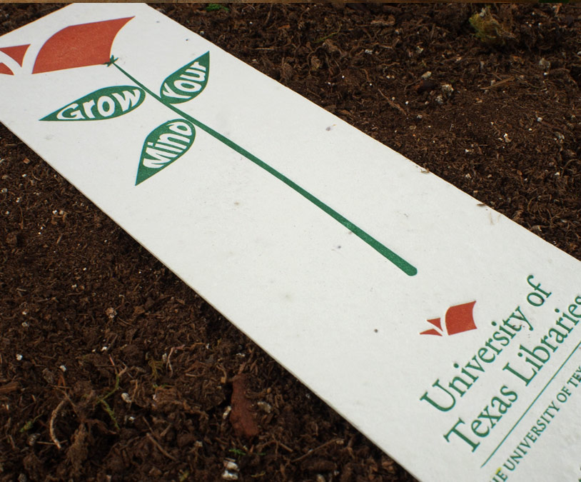 Custom letterpress bookmarks on plantable paper from Plantable Seed Paper