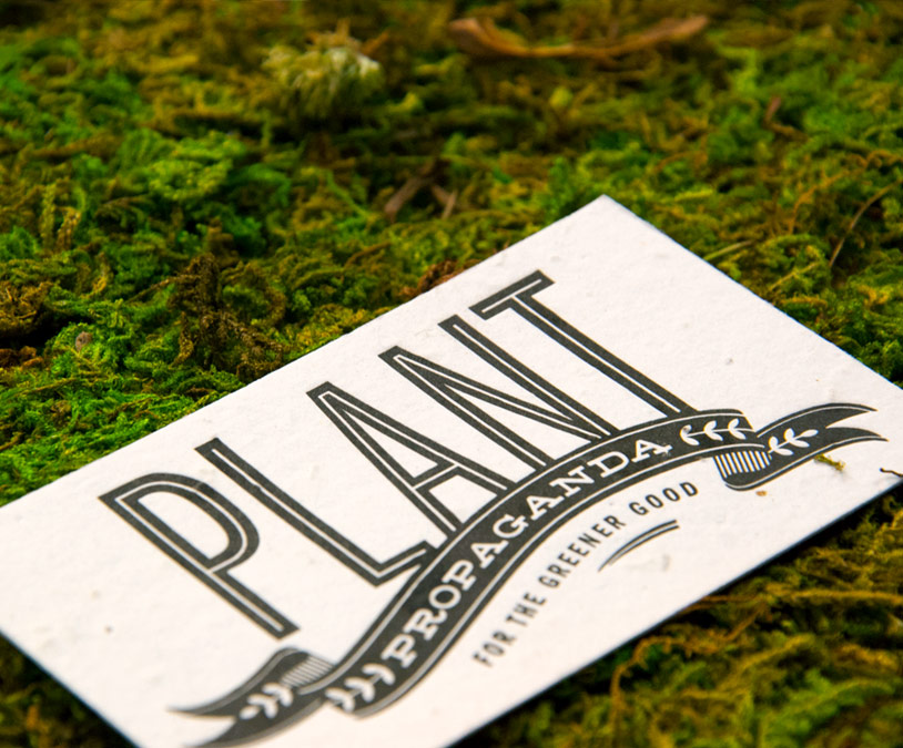 Custom letterpress business cards on plantable paper from Plantable Seed Paper