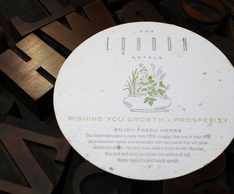 Custom letterpress coaster on plantable paper from Plantable Seed Paper